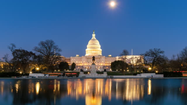 4k time lapse front of the united states capitol building with reflecting pool at twilight time, capitol hill, washington, d.c., usa - сумерки стоковые видео и кадры b-roll