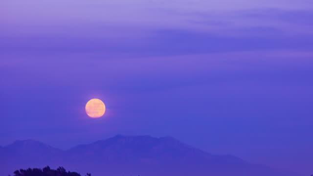 Time Lapse - Full Moon Rises from Mountain Range - 4K video