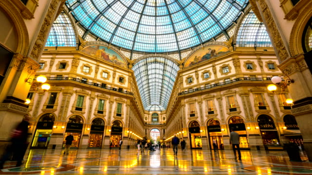 time lapse galleria vittorio emanuele ii in milan - italian architecture stock videos & royalty-free footage