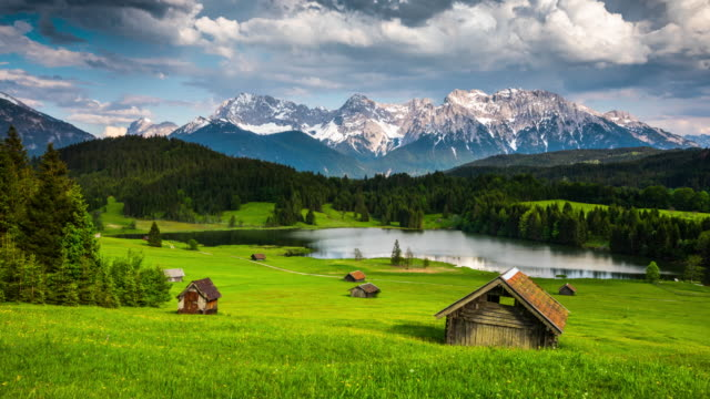 time lapse: germany, bavaria,  karwendel mountains with lake gerold - tracking shot - dolly shot video stock e b–roll