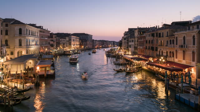 Time lapse Grand Canal in Venice at Dusk, Italy video