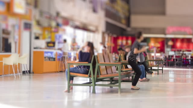 4K time lapse group of people have some action at shopping mall video