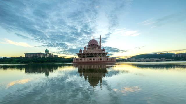 Time lapse HD Footage of dramatic Sunrise At Putra Mosque, Putrajaya video