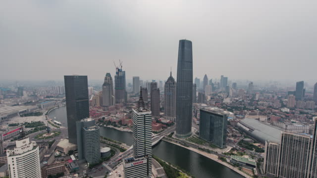 Time Lapse- High angle view of Tianjin Skyline (Panning) video