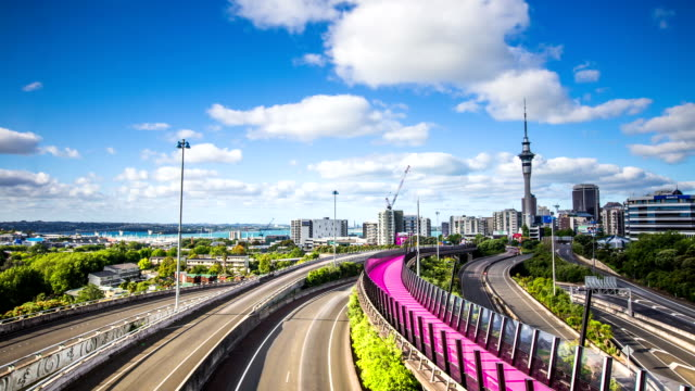 Time Lapse - Highway in Auckland City with the Sky Tower, New Zealand video