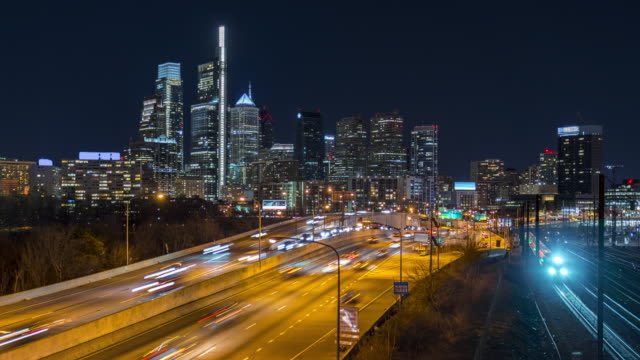 4K UHD Time Lapse : Highway road, Traffic and city scape view of Philadelphia, United state.