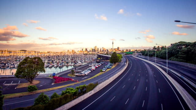 Time Lapse - Highway Traffic with Urban Skyline of Auckland, New Zealand video