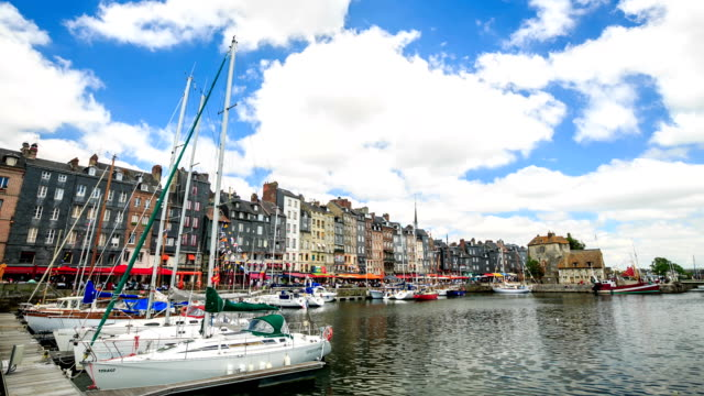 HD Time lapse : Honfleur village harbor in Normandy, France video
