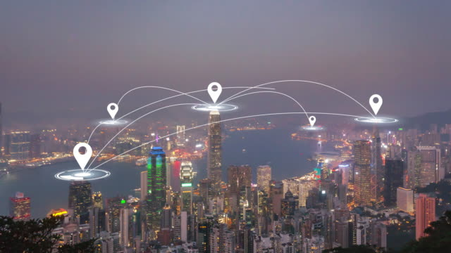 Time Lapse: Hong Kong Aerial view with futuristic technology network connection concept. - vídeo