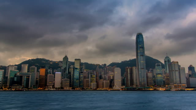 Time Lapse Hong Kong Cityscape Night To Day (zoom out) video