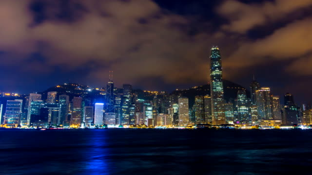 Time Lapse Hong Kong Cityscape Night To Day (pan up) video