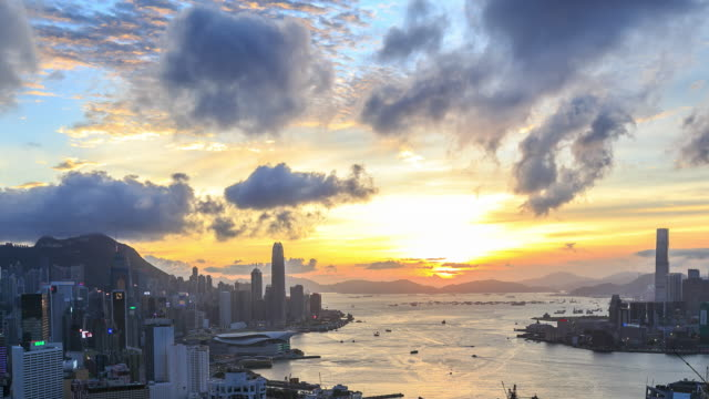 Time Lapse : Hong Kong Victoria Harbour Sunset video