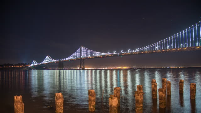 WS Time lapse illuminated San Francisco Oakland Bay Bridge at night,California,United States