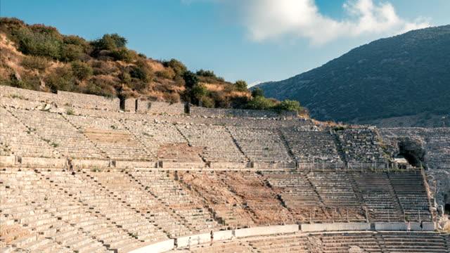 Time lapse in Ancient amphitheater  in Ephesus Ancient City amphitheater , Ephesus, time lapse, Greek, Anatolia aegean turkey stock videos & royalty-free footage