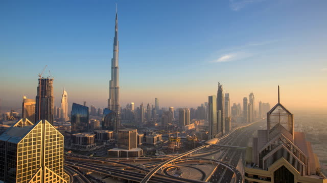 Time lapse in Dubai at dusk video
