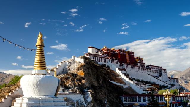 zaman atlamalı potala sarayı - stupa stok videoları ve detay görüntü çekimi