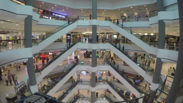 Time lapse in shopping mall video