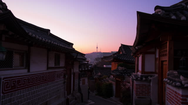 Time lapse in the morning at Bukchon Hanok Village,Seoul City  South Korea Time lapse in the morning at Bukchon Hanok Village,Seoul City  South Korea ancient architecture stock videos & royalty-free footage