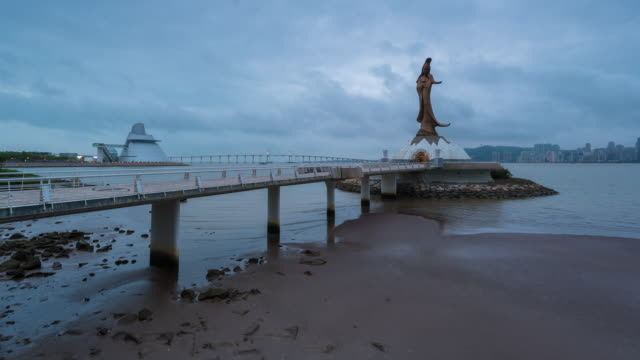4K Time Lapse :In the morning view of Statue of Guanyin in macau China video