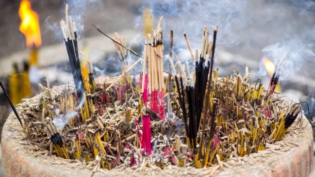 Time Lapse Incense Stick Burning In Old Censer video