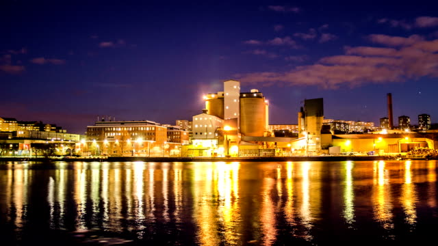HD Time Lapse: Industrial Buildings at Night video