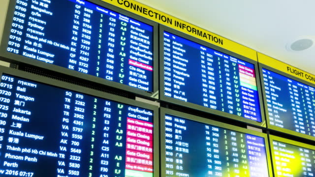Time lapse : Information arrival departure board at airport video