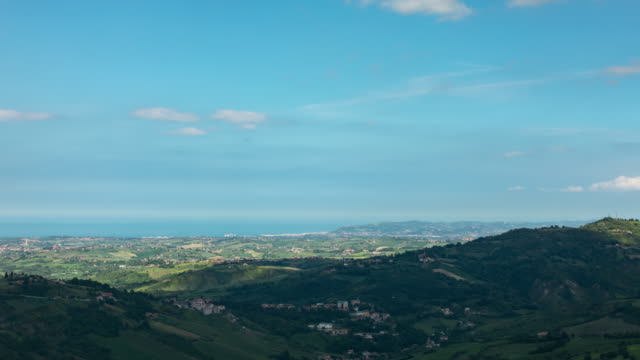 Time lapse looking out over San Marino towards the sea