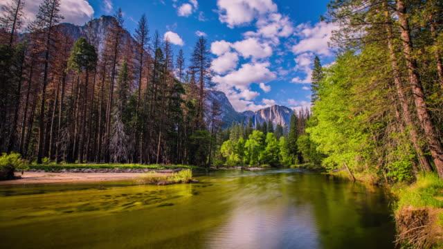 Time Lapse - Merced  River Running through Yosemite Valley - USA - 4K