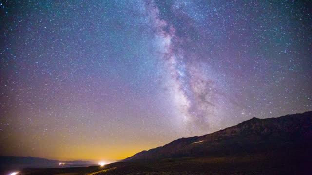 Time Lapse - Milky Way Galaxy Over Mountain Range - 4K video