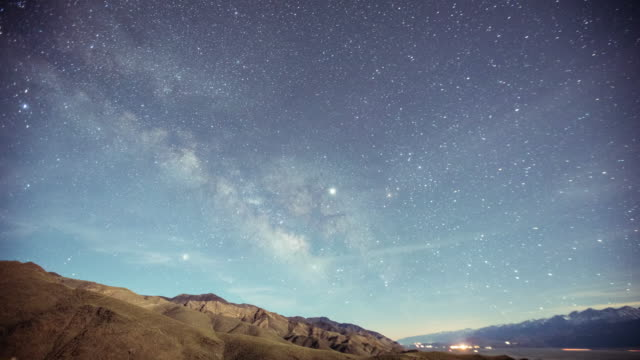 Time Lapse - Milky Way Galaxy Over the Snowy Mountain Range
