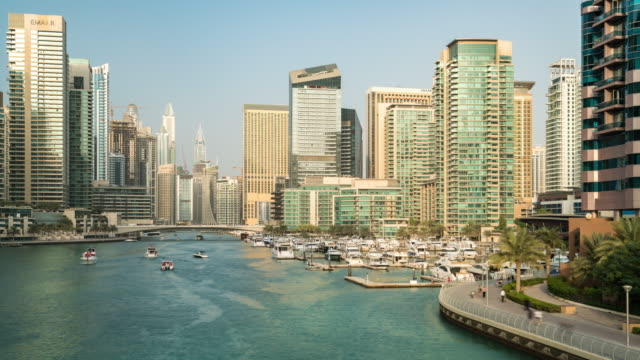 Time Lapse Modern skycrapers in Dubai marina video