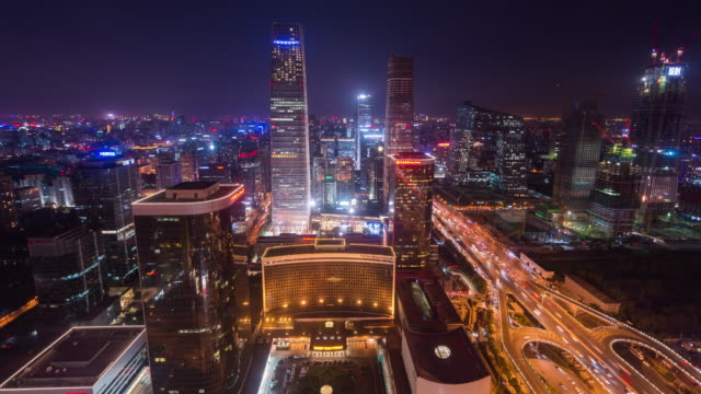 Time Lapse- Modern Skyscrapers in Beijing (WS HA Zoom out) video