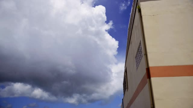 Time lapse motion of cloud storm with building and blue sky video