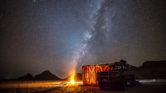 Time lapse movie of milky way across sky in the night, while camping at white sand desert, Egypt Time lapse movie of milky way across sky in the night, while camping at white sand desert, Egypt mojave desert stock videos & royalty-free footage