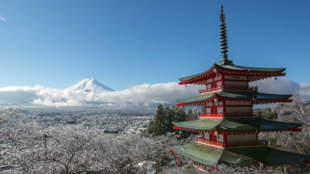 冬、富士吉田、日本の赤い塔と hd 時間経過富士山 - 冬点の映像素材/bロール