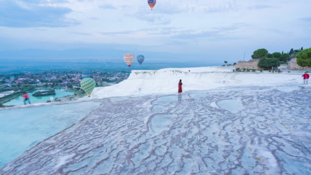 Time lapse : Natural view on pools and terraces in Pamukkale, Ancient Hierapolis in Pamukkale, Denizli of Turkey