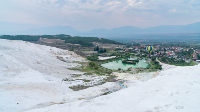 Time lapse : Natural view on pools and terraces in Pamukkale