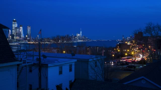 Time lapse New York City traffic cityscape skyline blue hour video