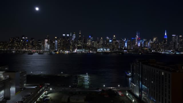 Time lapse New York City traffic NJ cityscape skyline Moon video
