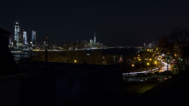Time lapse New York City traffic NJ cityscape skyline Night video