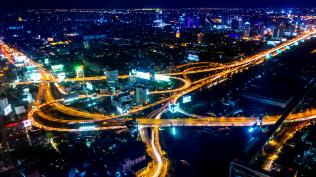 Time Lapse Night Cityscape Of Bangkok City, Thailand video