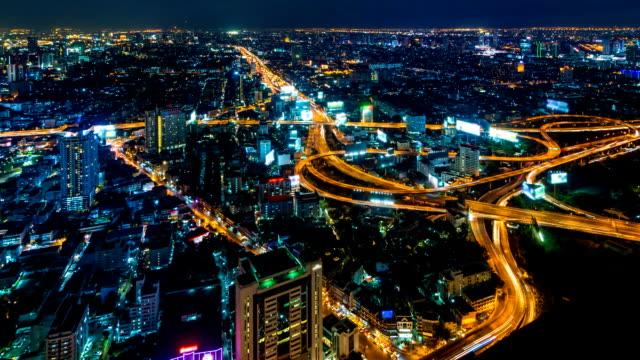 Time Lapse Night Cityscape Of Bangkok City, Thailand (tilt up) video