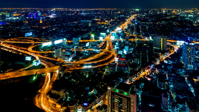 Time Lapse Night Cityscape Of Bangkok City, Thailand (tilt up) video