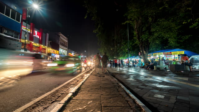 4K Time Lapse : Night market in Yogyakarta video