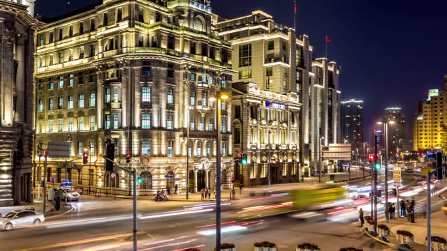 Time Lapse - Night Traffic at the Bund (Zoom In) video