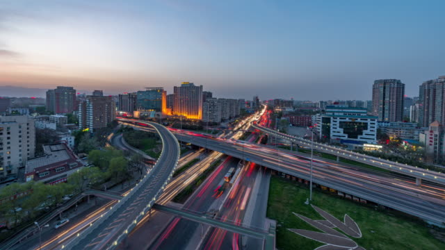 Time Lapse- Night traffic of Beijing, Day to Night Transition (WS Zoom Out) video