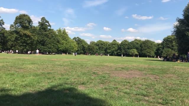 time lapse of a crowd enjoying summer in greenwich park, london - inghilterra sud orientale video stock e b–roll
