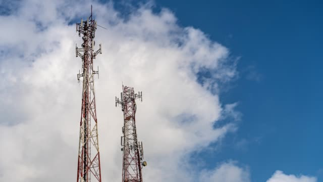 Time lapse of a telecommunication tower for mobile and cell phone