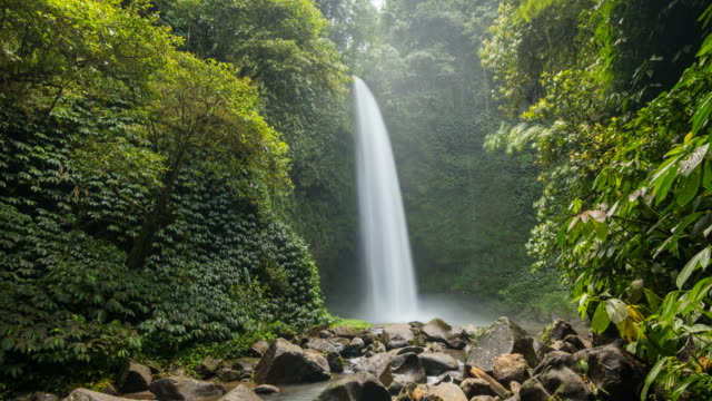 Time lapse of a waterfall in the middle of a tropical rainforest video