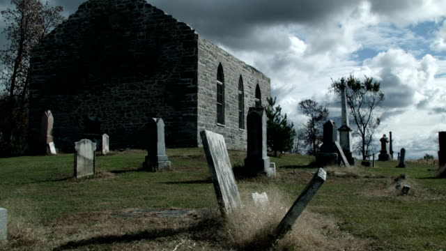 Time Lapse of Abandoned Church and Cemetery